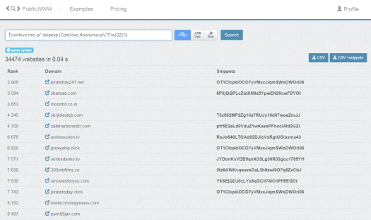 "PublicWWW search for ""coinhive.min.js"" snipexp: