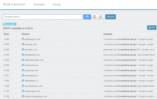 """PublicWWW search for """"coinhive.min.js"""""""