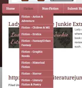 Bookblogger List showing Fiction Dropdown