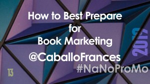 How to Best Prepare for Book Marketing by guest @CaballoFrances via @BadRedheadMedia and @NaNoProMo #BookMarketing #book #marketing
