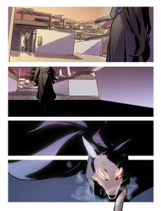 A four panel vertical comic. A woman in an overcoat steps into a darkened alleyway, the sun setting above her. The shadows darken and lengthen. After a moment, a many tailed fox with gleaming red eyes pads out of the bottom panel towards the reader.