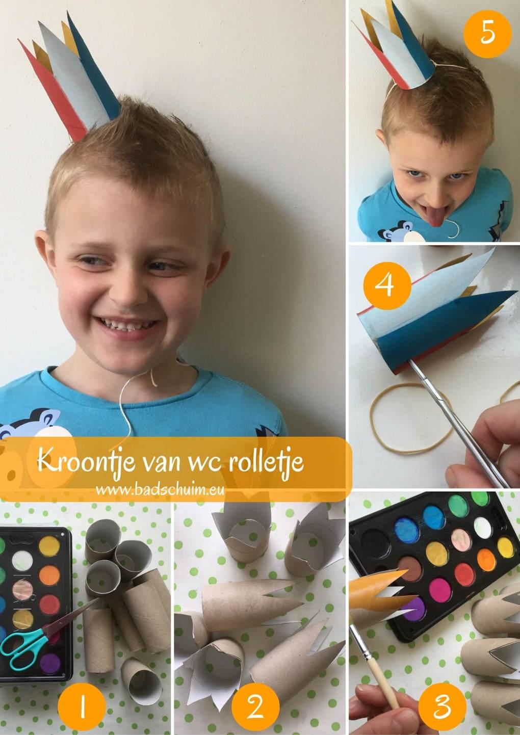 Maak een kroontje van een wc rol met dit foto stappenplan. Ontzettend leuk om samen met je kids te maken. Leuk voor feestjes en koningsdag!