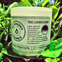 boyfriend candle the landscaper scent. candle smells like spring and summertime, fresh cut grass.