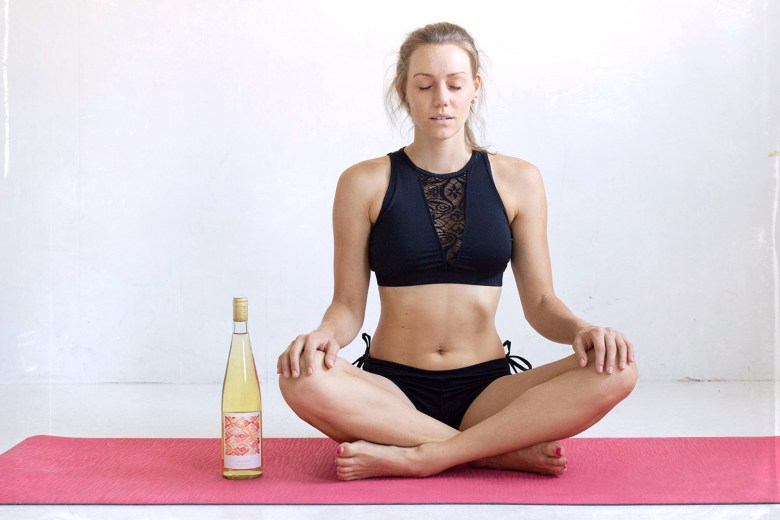 Easy Pose Sukhasana or yoga and wine pose