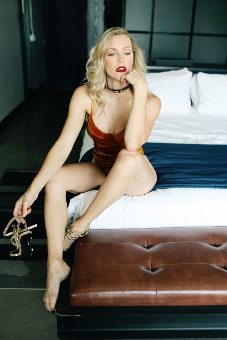 boudoir pose with heels