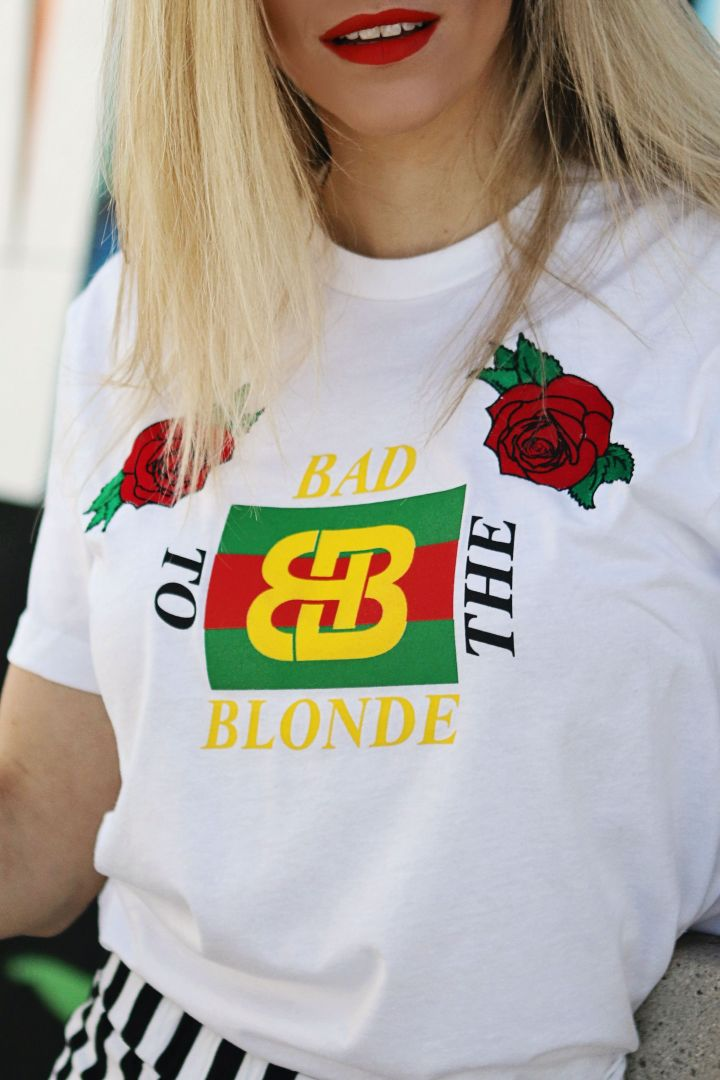 gucci bootleg blonde tee with embroidered roses