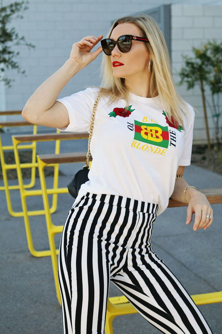 gucci tee and stripe pants outfit