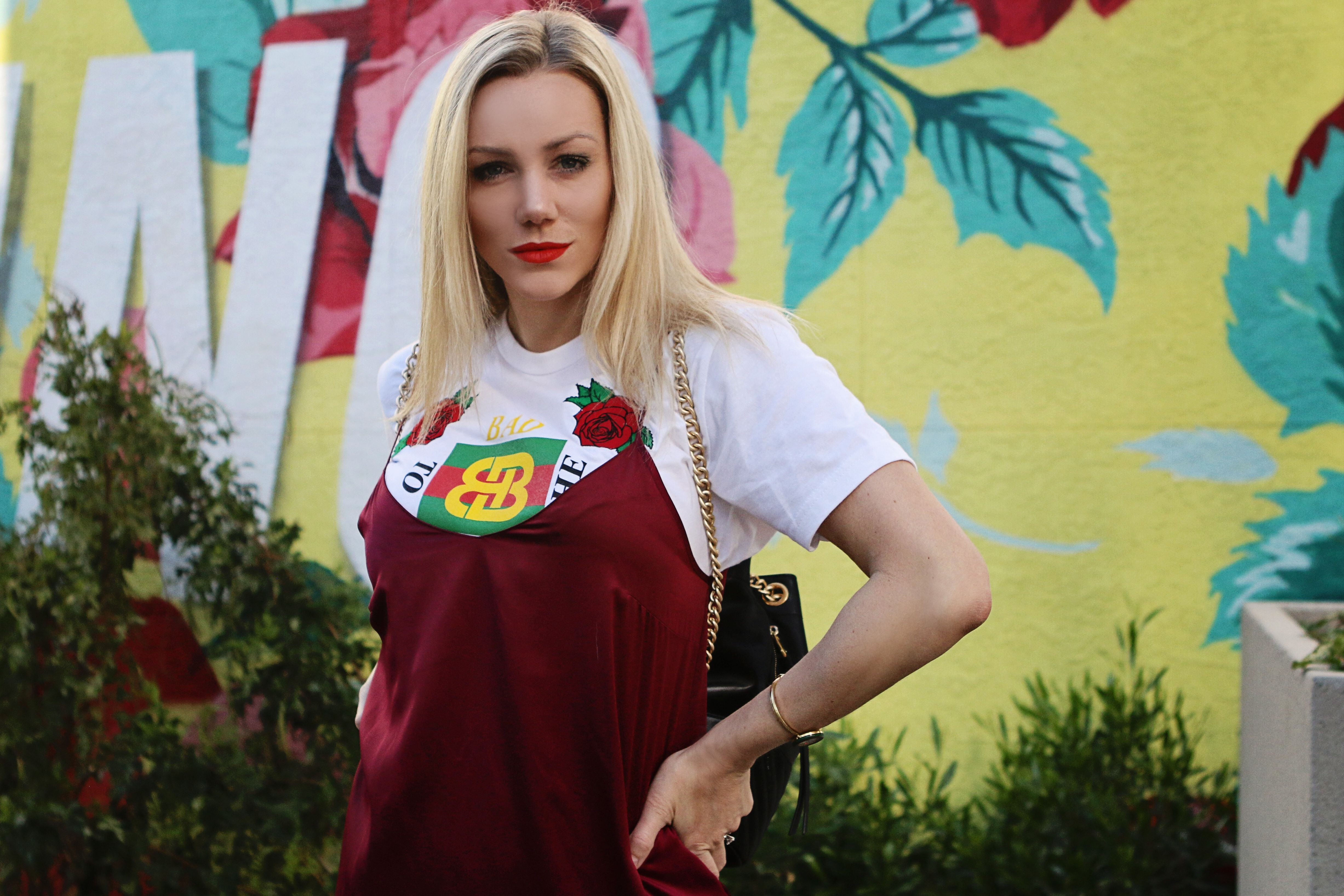 33d7b93d blonde and boujee tee · slip dress and gucci tshirt outfit
