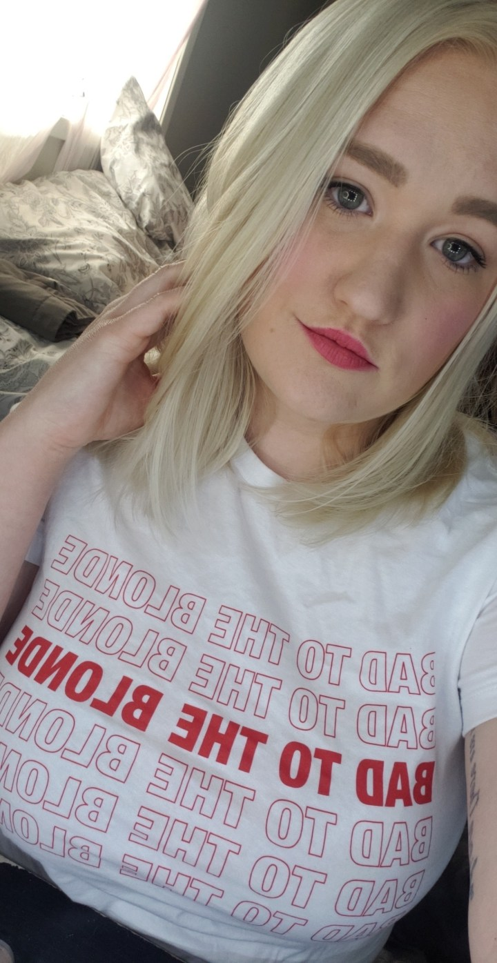 retro bad to the blonde t shirt