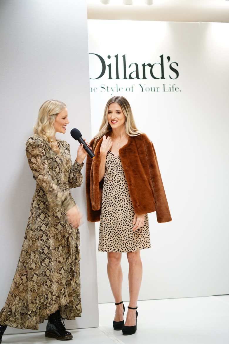 animal print dress and faux fur coat