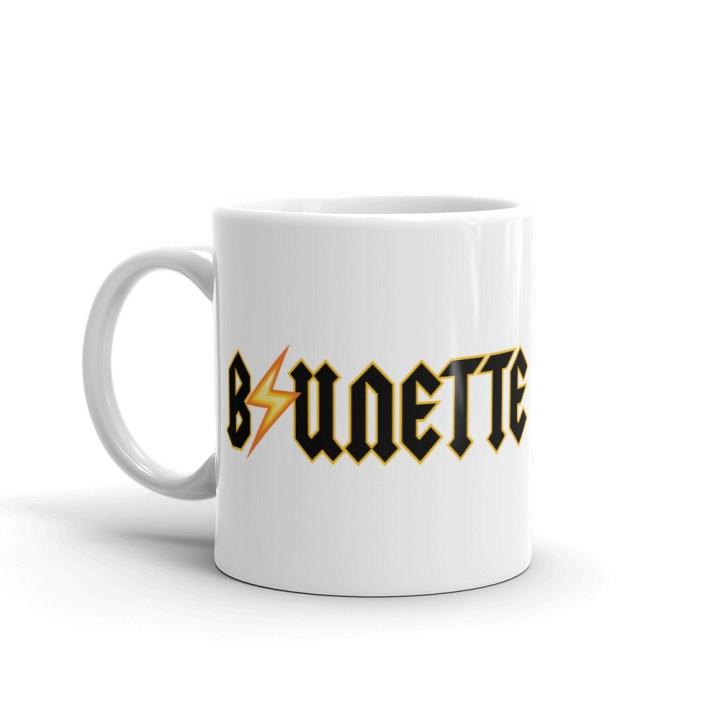brunette coffee mug