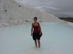 nice warm thermal water in the limestone basins in Pamukkale