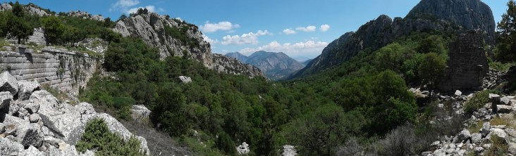 view from Termessos - upper city wall on the left