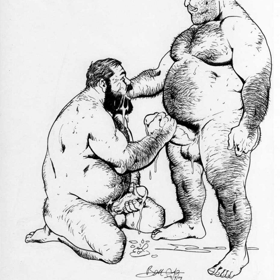 Thick, hairy, masculine men, sharing love and penises