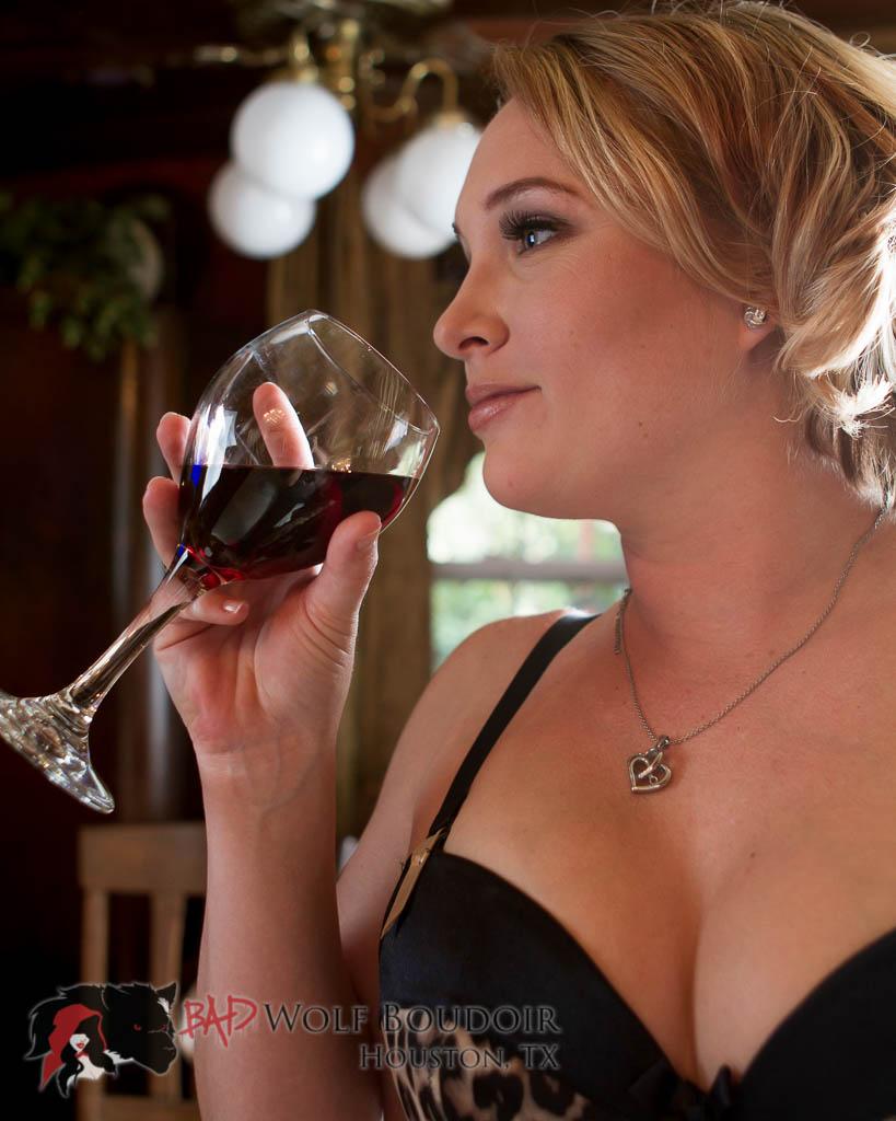 Sarah drinking wine