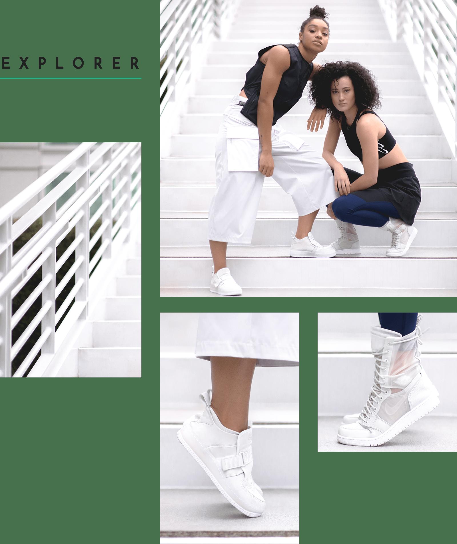 Nike The 1 Reimagined EXPLORER XX Air Force Jordan Boot See Through Female Designer Design Collective Women Editorial Closer Look Lookbook White