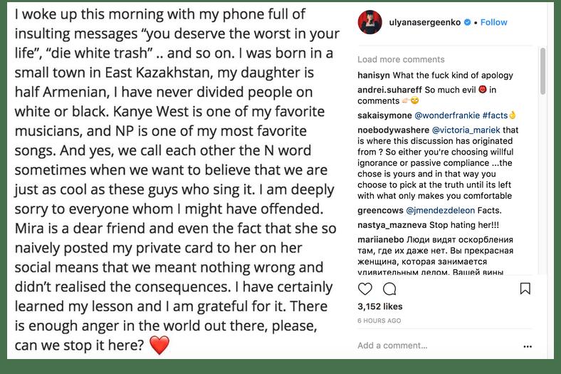 Ulyana Sergeenko Under Fire Racial Slurs Discrimination Racist Remarks Haute Couture Kim Kardashian Bryanboy Chrissy Teigen Designer