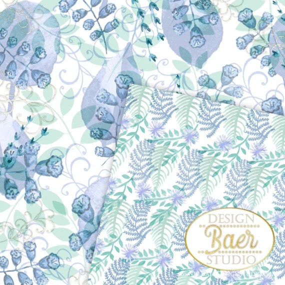 3 Blue and Mint Watercolor Paper