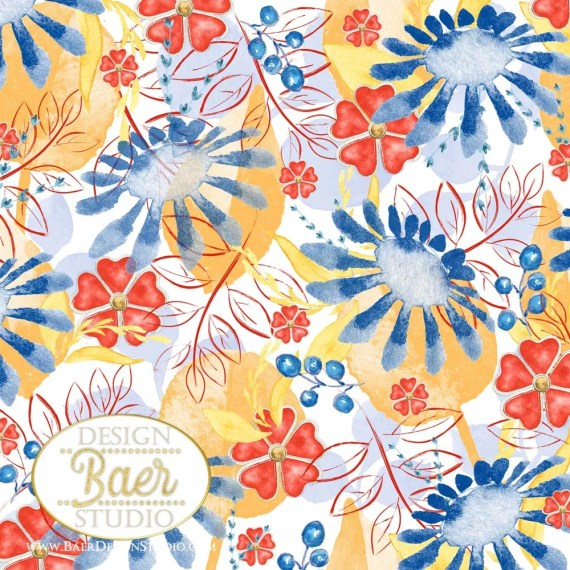 5 Red Yellow Blue Floral Paper