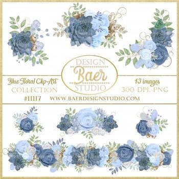 Blue Succulent Clipart Roses Border Floral