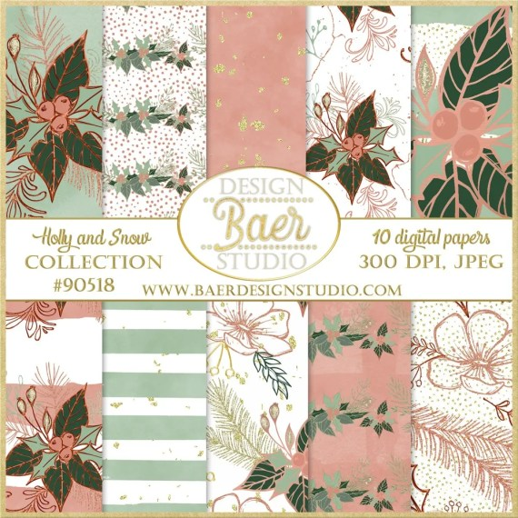 Rose Gold and Green Digital paper