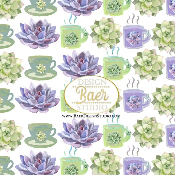 Succulent Tea Cup Digital Paper