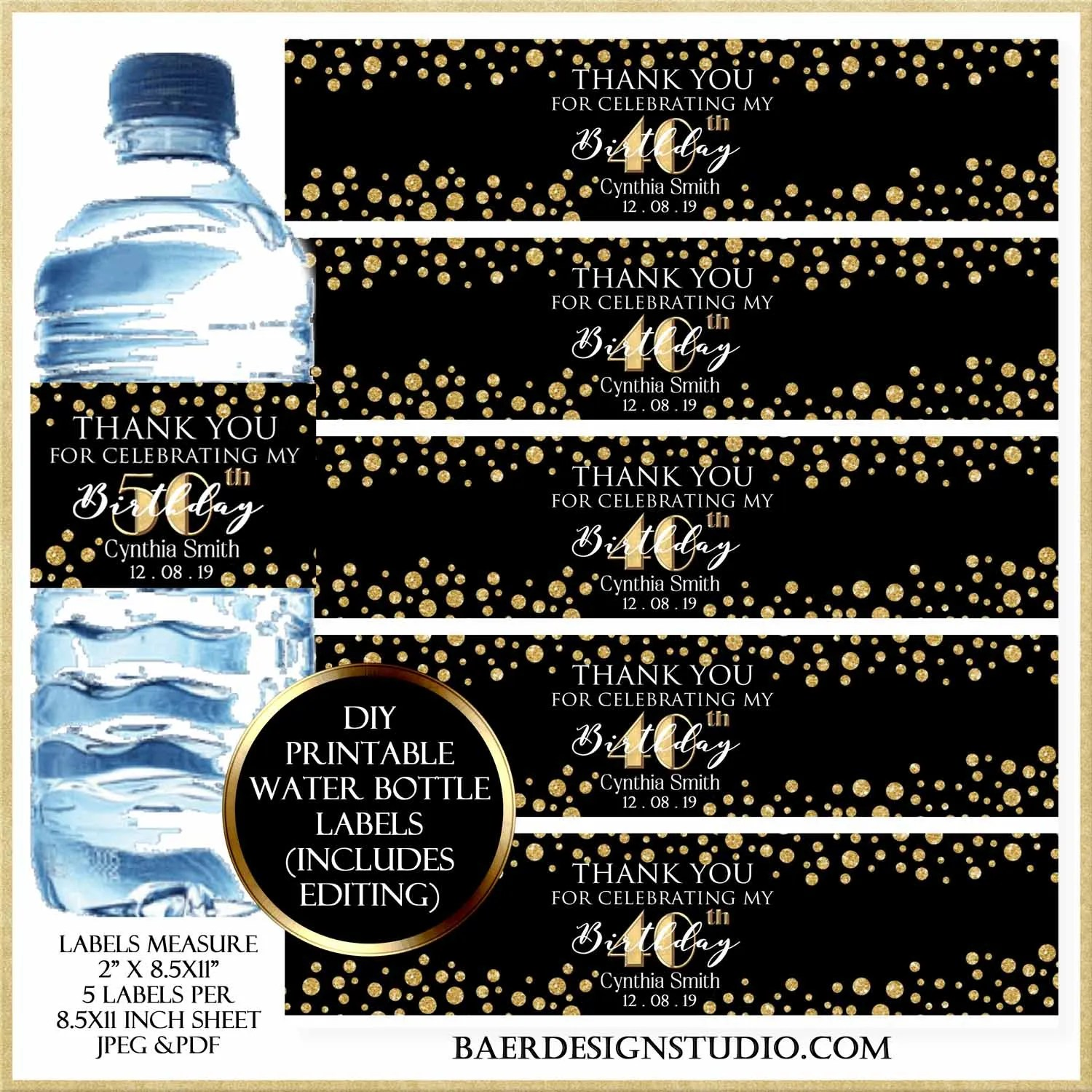 image about Printable Bottle Labels named Do it yourself Printable H2o Bottle Labels Baer Style Studio