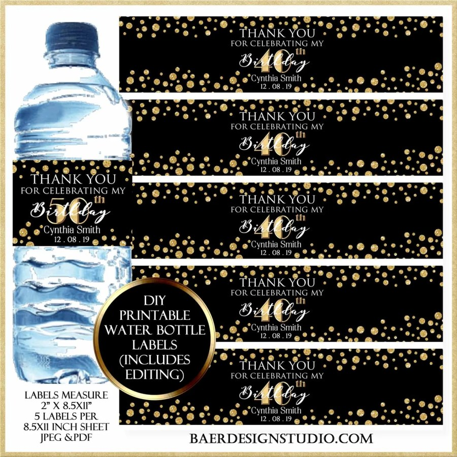 Diy Printable Water Bottle Labels Baer Design Studio