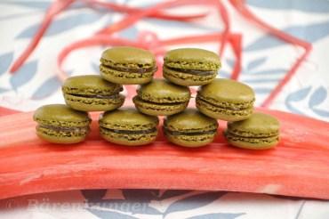Matcha Rhababer Macarons