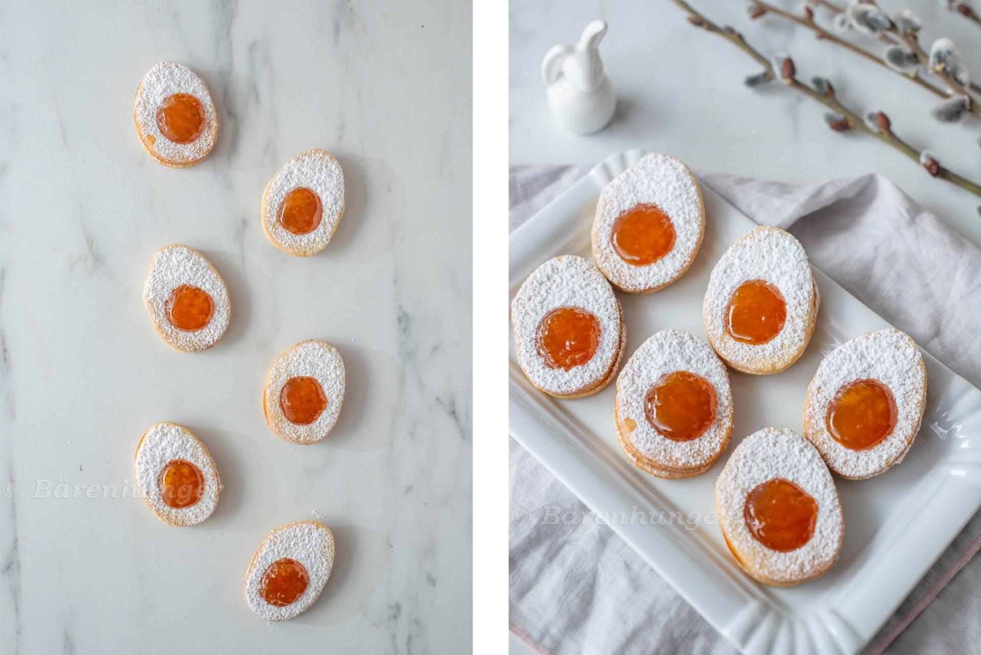 Ostereier Plätzchen mit Marillenmarmelade Füllung