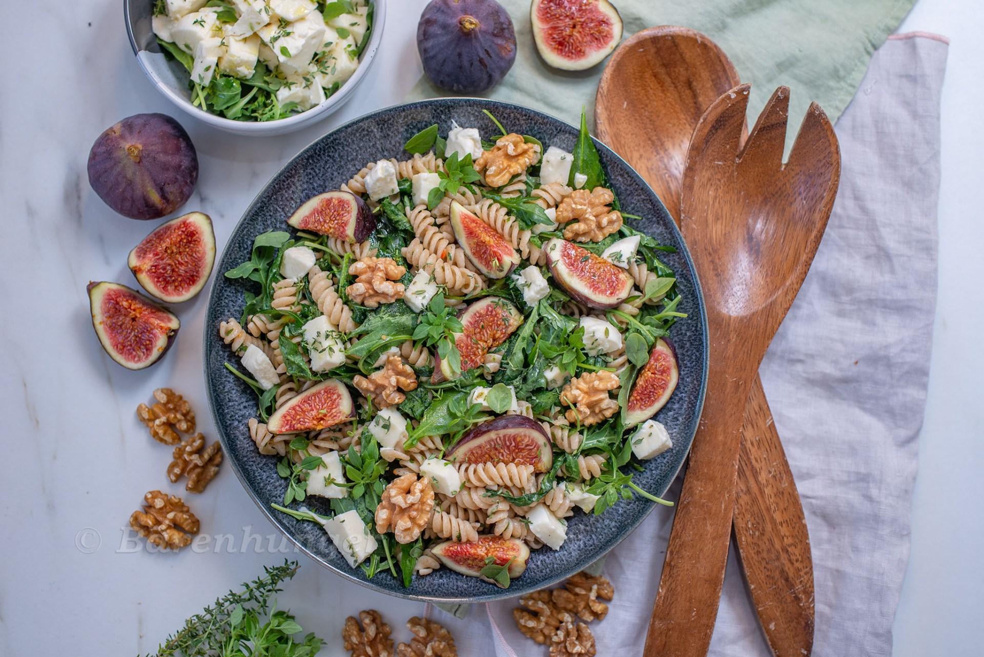 Herbstlicher Pasta Salat mit Feigen
