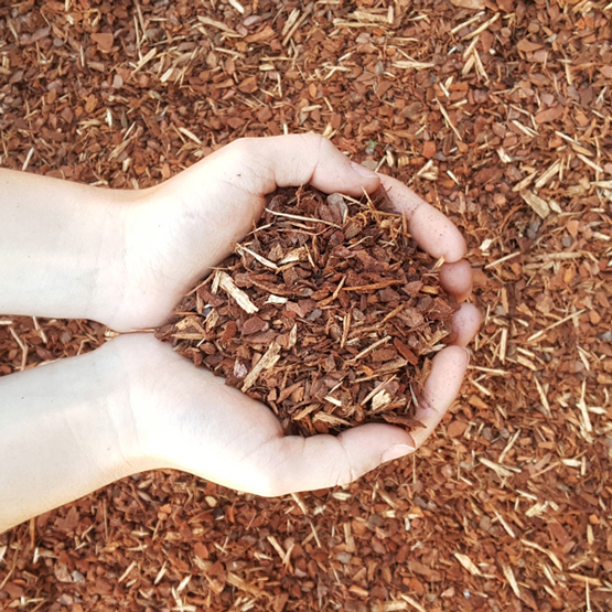 Soft Landing pine mulch--we bag mulch and this is one of our most popular types.