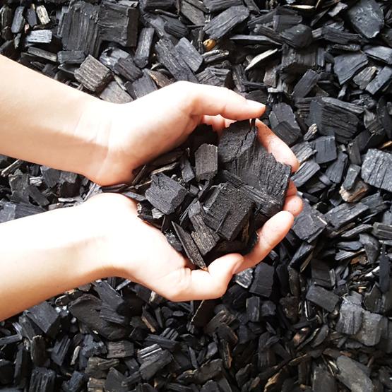 Black wood chip--we bag mulch and this is our most contemporary-looking product