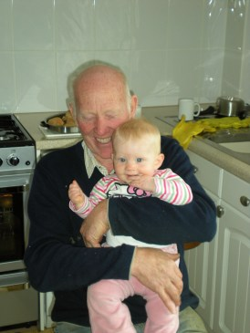 On granddad's lap!
