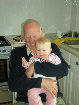 On granddad's lap!