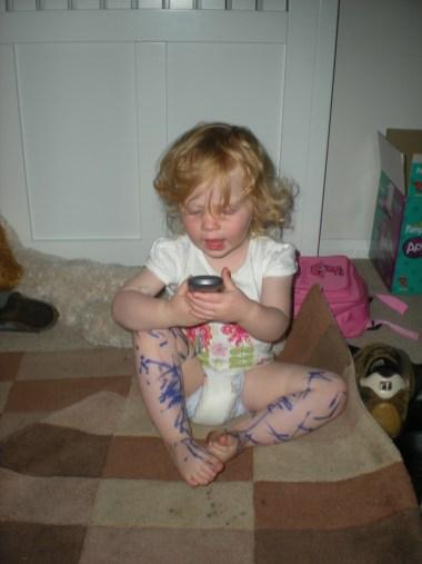 Daddy, drawn on my legs!