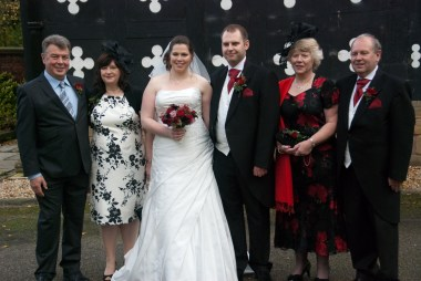 The bride and groom (and parents)