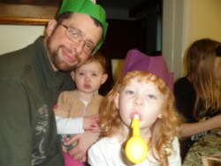 Daddy with his girls on Christmas day 2011