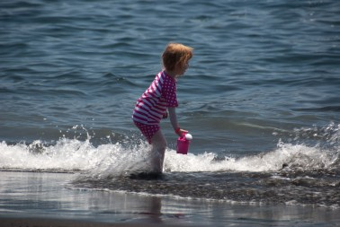 Playing in the sea