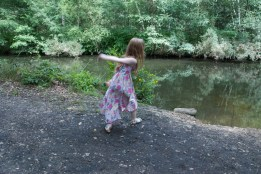 Throwing bread to the ducks
