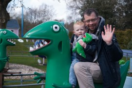 Daddy and Ezra on Mr Dinosaur