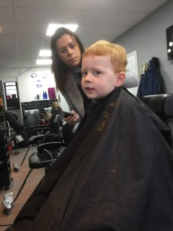 Half-way through the haircut