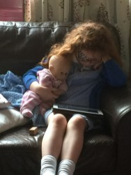 Watching the iPad with my baby