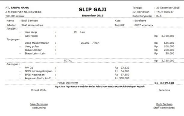Contoh Surat Slip Gaji