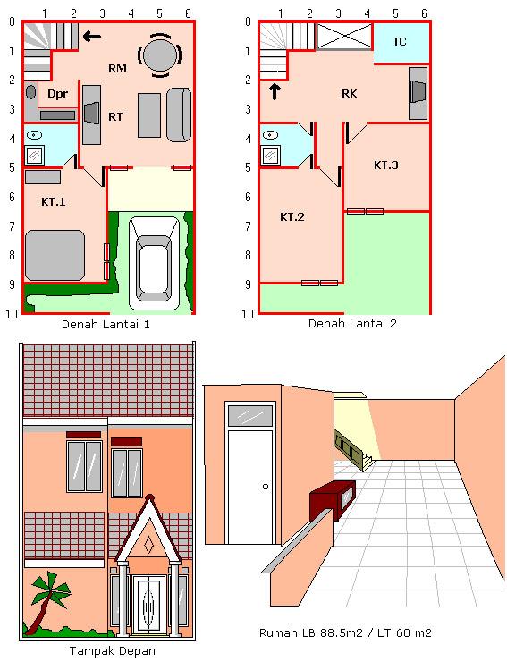 Desain Rumah Mungil Luas Tanah60 M2 Luas Bangunan 885