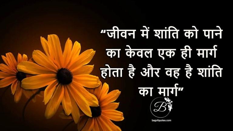 जीवन में शांति को पाने का केवल एक ही मार्ग होता है और वह है शांति का मार्ग