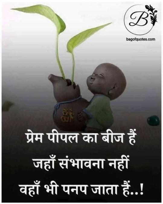 motivational thought in hindi, प्रेम पीपल का वो बीज होता है जो वहां पर उगता है जहां पर