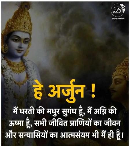 Hindi bhagavad gita quotes, इस पृथ्वी की हर सुगंध की मधुरता में ही हूं मैं ही अग्नि की ज्वाला हूं