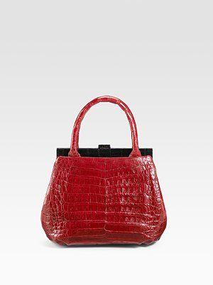 Colorblocked Crocodile Satchel Nancy Gonzales